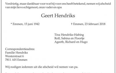 Oud trainer v.v. Schoonebeek Geert Hendriks overleden